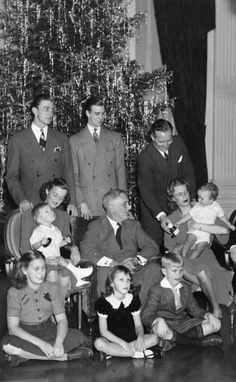 American President F. Roosevelt photographed with his family (and a tinsel-covered tree! Presidents Wives, American Presidents, American History, White House Christmas Tree, Christmas Past, Xmas, Presidential Portraits, Presidential History, Vintage Christmas Photos