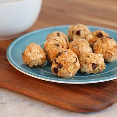 These Granola Balls take 10 minutes to make! Just combine 2 cups dry oatmeal, 1/2 cup peanut butter, 1/2 cup of Philly, 1/2 cup chocolate chips, 1/4 cup honey and and 1/2 tsp. salt and voila!