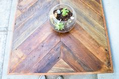 Reclaimed Barn wood Chevron coffee table