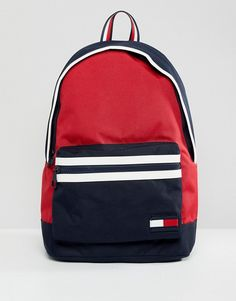 Tommy Hilfiger Nylon Backpack Icon Colours in Red/Navy/White White Backpack, Men's Backpack, Leather Backpack, Leather Wallet, Fashion Backpack, Mochila Tommy, Mochila Nike, Tommy Hilfiger Outfit, Tommy Hilfiger Bags