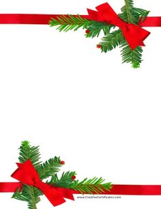 border with red ribbons for xmas - Christmas Borders Free