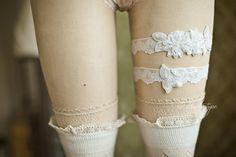 White Lace Wedding Garter Set Beaded Lace by rosebudlipsbridal, $39.00
