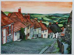 Gold Hill, Shaftesbury, Dorset By Sam Cannon Art Watercolour, pen and gouache on paper www.samcannonart.co.uk