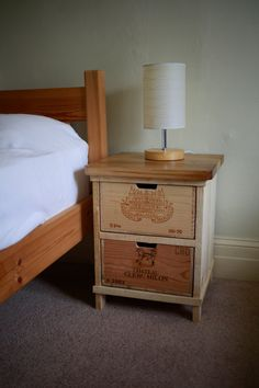 Rustic wine box bedside table Handmade by boisrustique on Etsy, $210.00