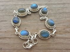 Labradorite Bracelet  Sterling Silver by HimalayanTreasure on Etsy