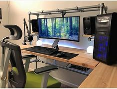 DIY Gaming desk built with pipe fittings.,DIY gaming desk built with DIY Gaming desk built with pipe fittings.,DIY gaming desk built with pipe fitti Home Office Setup, Home Office Design, Home Office Furniture, Office Workspace, Gaming Computer Desk, Gaming Room Setup, Corner Gaming Desk, Computer Technology, Gaming Desk Plans