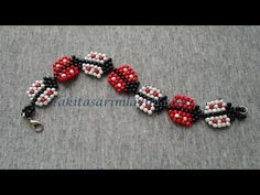 Not English but doable ~ Seed Bead Tutorials Spring Lady Bug Bracelet. Not English but doable ~ Seed Bead Tutorials Beaded Bracelets Tutorial, Seed Bead Bracelets, Seed Bead Jewelry, Beaded Jewelry Patterns, Handmade Jewelry Designs, Bracelet Patterns, Seed Bead Tutorials, Beading Tutorials, Diy Schmuck