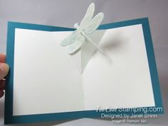 Janet - dragonfly pop-up 5 Fancy Fold Cards, Folded Cards, Pop Up Cards, Love Cards, Card Making Tutorials, Stamping Up Cards, General Crafts, Scrapbook Embellishments, Homemade Cards