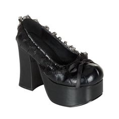 """Demonia Charade 26 Product Information    Adorable closed toe platform shoes with lace detail and chunky heel.    :: Charade 26 Details ::    Heel : 4 1/2"""" heel with 2 1/2"""" front platform    Material : Synthetic Upper    Brand : Demonia"""