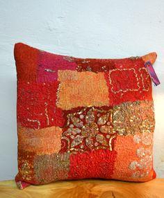 Nuno Felted cushion by Stephanie Tenier @ Feltastik