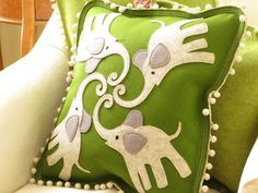 I'm quite in love with this ultra thick wool felt pillow by Cheeky Monkey Home, a local crafter, $145.00