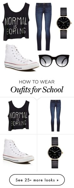 """School."" by edenautry on Polyvore featuring DL1961 Premium Denim, Converse, Myku and Alexander McQueen"