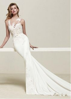 70a663ba5cb5 Magbridal Graceful Tulle   Acetate Satin Jewel Neckline Mermaid Wedding  Dress With Beaded Lace Appliques