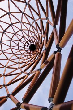 "2014 Pritzker Architecture Prize winner, Shigeru BAN, Japan: ""I believe the strength of a material has nothing to do with the strength of a building. Even a paper tube structure can be made to withstand an earthquake that a concrete building cannot outlive."" Japanese Architecture, Beautiful Architecture, Architecture Details, Modern Architecture, Steel Structure, Bamboo Structure, Parametric Design, Building Design, Space Frame"