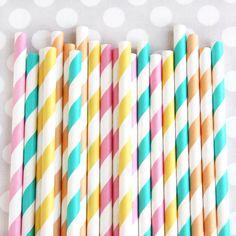 Summer Sunshine Stripey Straws
