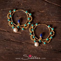 Another stunner from our CORONA collection ♡  #SiddhaaByMridu #silver #jewelry #goldplated #designer #hoops #earrings #lapizlazuli #turquoise #pearl #accessories #photooftheday #instapic #potd #fashion #indian #buyonline #FREESHIPPING