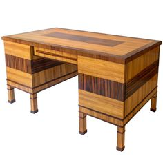 Förenade Möbelfabrikerna, Graphic Swedish Grace Period Exotic Wood Desk | From a unique collection of antique and modern desks and writing tables at https://www.1stdibs.com/furniture/tables/desks-writing-tables/