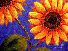 Sunflowers Painted by Palette Knife II Painting  - Sunflowers Painted by Palette Knife II Fine Art Print