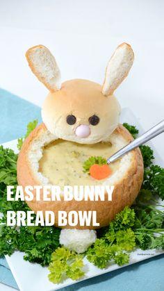 Hoppy Easter, Easter Bunny, Easter Eggs, Easter Food, Bunny Bread, Food Art For Kids, Easter 2020, Cute Desserts, Homemade Soup