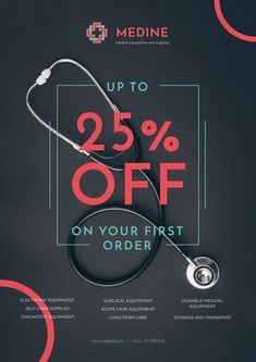 Clinic Promotion with Medical Stethoscope on Table — Create a Design Acute Care, Podiatry, Online Posters, Long Term Care, Medical Equipment, Stethoscope, Marketing Materials, Ecommerce, Clinic
