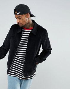 ASOS Cord Harrington Jacket In Black - Black