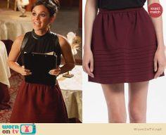 Zoe's burgundy piped skirt on Hart of Dixie. Outfit Details: http://wornontv.net/24485 #HartofDixie #fashion