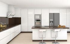 Ultra modern white kitchen with brown back splash