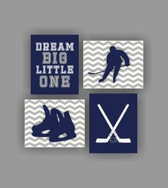 Sports Boy Nursery Wall Art Decor Hockey Set of by myfavoritedecor