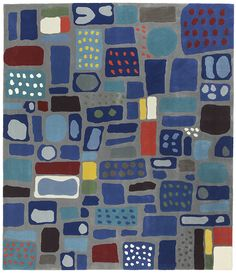 Svenskt Tenn Josef Franks carpet, Mosaik, produced by Kasthall in Sweden. is a decorative composition of different fields of color that move our thoughts to porcelain, stone or glass. This carpet was designed in the late 1940s, but it has, as far as known, never been produced before. Mosaik is built on his philosophy that carpets should show a real, preferably decorated surface, giving a feeling of solid ground underfoot.