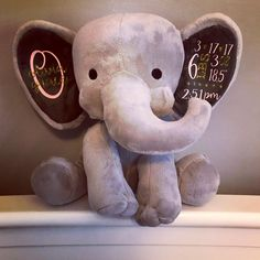 birth announcement elephant birth stat elephant keepsake elephant