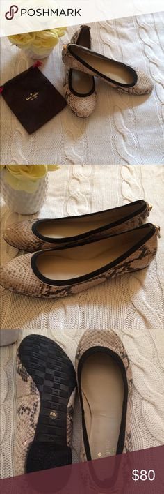 ♠️ Kate Spade Ballet Flats Excellent Kate Spade Snakeskin Ballet Flats. Tan and Black with Black Stretch Trim for Comfort. Accent Bow and Gold Stud on Back Heel. Gently worn Size 8 1/2. kate spade Shoes Flats & Loafers