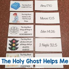 The Holy Ghost Helps Me. These cards teach children about the roles of the Holy Ghost with picture cards. There are also scripture references to go along with each card. You can match them. We used these for a family home evening (FHE) lesson. Lds Object Lessons, Fhe Lessons, Lessons For Kids, Holy Ghost Lesson, Holy Ghost Talk, Baptism Talk, Family Home Evening Lessons, Lds Scriptures, Indoor Games