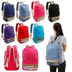 887bef66a Fashion Women s Canvas Travel Satchel Shoulder Bag Backpack School  Rucksack. Mochilas Fofas ...