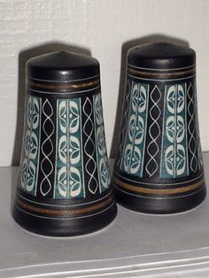 Pair of salt and pepper pots designed by George Cooke and produced by Ambleside Pottery