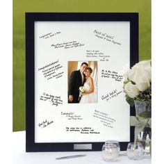 $70.00    Let your family and friends surround your wedding day photo with messages of love when you use our beautiful Guest Book Frame! Replace the traditional guest book with a photo mat designed to surround a 5x7 photo of the happy couple. A beautiful choice that will be displayed for many years to come with pride and love!
