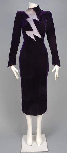 THIERRY MUGLER VELVET and CHIFFON DRESS, 1980s