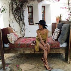 Summer hangs at Korakia hotel. | Wearing Stone Cold Fox Bolas Dress (rstyle.me/n/hbdm6bmv) Rag & Bone Hat (rstyle.me/n/ghb76bmv) and Cynthia Vincent gladiator sandals (rstyle.me/n/htqjzbmv)
