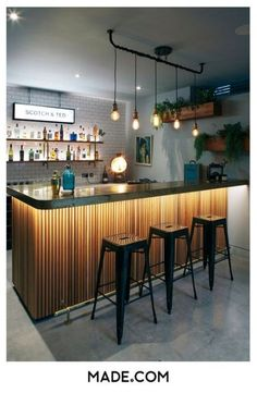 Super Home Bar Counter Design Light Fixtures 35 Ideas Bar Decor, Inside Bar, Home Bar Designs, Bar Design Restaurant, Bars For Home, House Interior, Counter Design, Home Bar Counter, Bar Counter Design