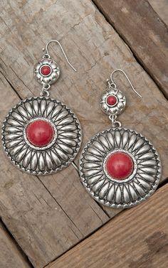 West & Co Silver Concho w/ Red Stone Dangle Earrings