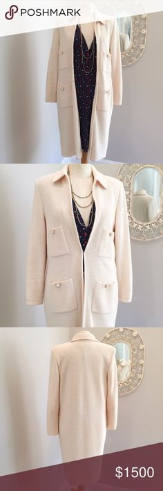 🎉HP🎉 St John Knits Classic Cream Jacket Timeless 🎉Host Pick-11/18/16-Everyday Essentials Party🎉 Beautiful cream St John Collection by Marie Gray Coat. It is a size 6 and has a timeless classic St. John feel that will match any basic pieces. It has four front detail pockets with elegant pearl button detail. The jacket has the classic shoulder pads and tailored sleeves and flows to the knees. This piece is great with skirt and pants. It is in wonderful condition. St John Collection Jackets…