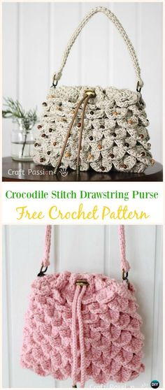 Crocodile Stitch Drawstring Purse Free Crochet Pattern -#Crochet Drawstring #Bags Free Patterns