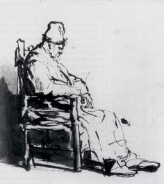 drawpaintprint: Rembrandt: Seated Man (Possibly...