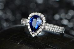 Engagement Ring -  1 Carat Blue Sapphire Ring With Diamonds In 14K White Gold