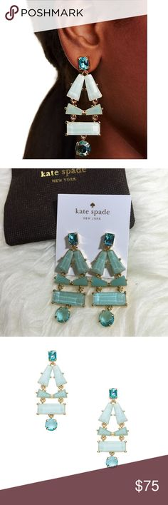 "Kate Spade Statement Earrings Kate Spade beach gem statement earrings. 12 karat gold plated metal with epoxy stones. 14 karat gold filled posts. Approx. 2.5"" long & 1"" wide. Blue multi colored. kate spade Jewelry Earrings"