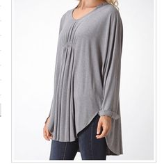 Grey tunic Oversized grey tunic in a rayon spandex light knit PLEASE comment on the size you want (when your ready to purchase) and allow me to make you a personalized listing instead of using the bundle option BUNDLE AND SAVE 10% ( no trades ) Tops Tunics