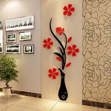 3D Vase Flower Tree Crystal Arcylic Wall Sticker Home Room TV Decor Vinyl Art(China (Mainland))