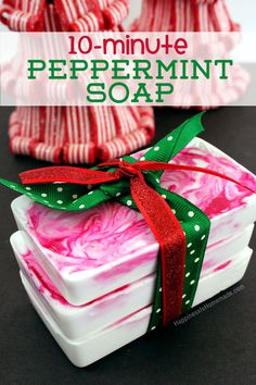 These lightning quick peppermint soaps are a fun DIY holiday gift idea for friends, neighbors and teachers and can be whipped up in about ten minutes!