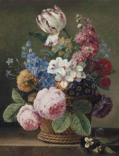 Jan Frans van Dael 	- A parrot tulip, roses, morning glory and other flowers in a wicker basket on a ledge