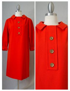 60s R&K Originals Vintage Orange Red Wool by RedLightVintageShop