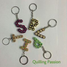 Quilled alphabet key chains